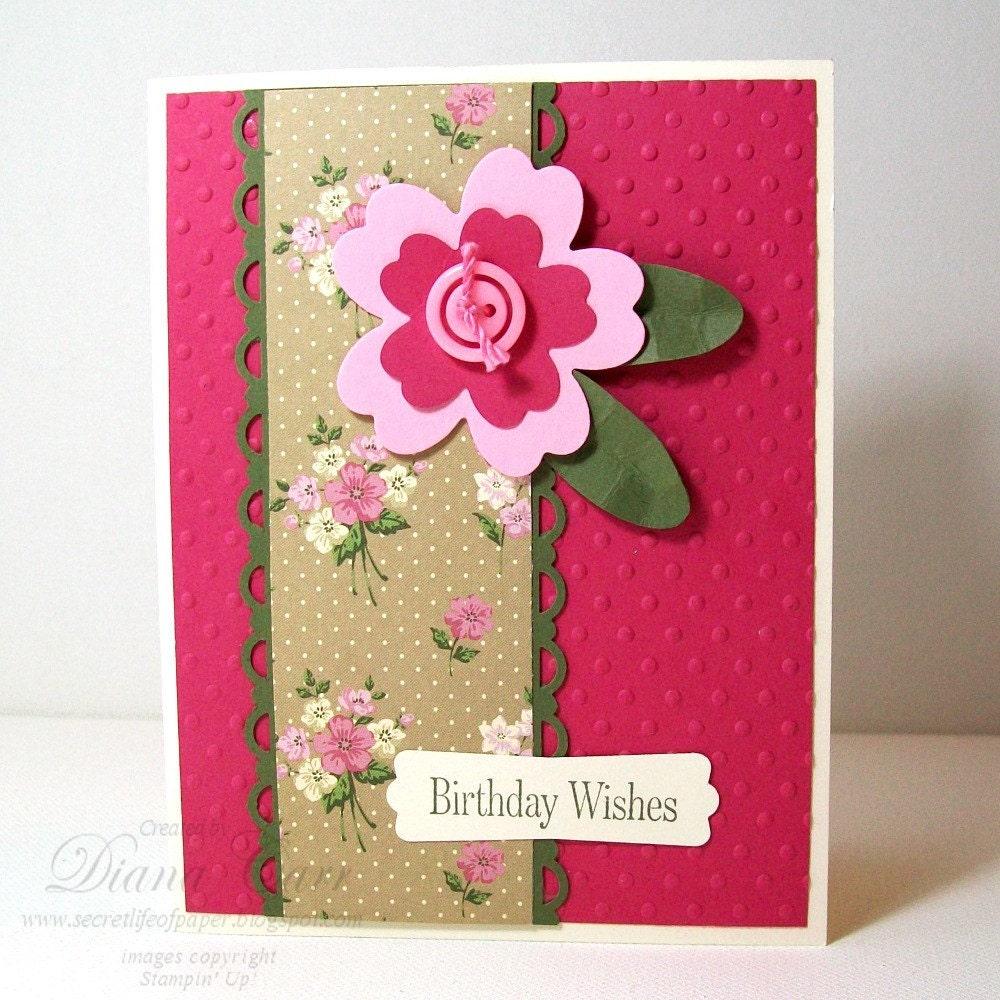 Handmade Birthday Card Birthday Wishes Pink
