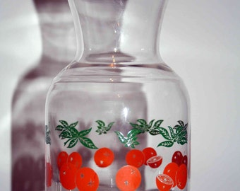 Sale - Vintage Glass Carafe - Orange Theme