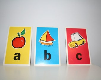 Vintage 1960's ABC Flashcards - Use as Framed Art - Other Letters Available