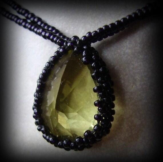 Faceted Lemon Quartz Beaded Necklace yellow gemstone black glass beadwoven beadwork jewelry