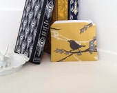 Trendy Coin I.D. Credit Card Bag with Zipper Vintage Yellow Gray Sparrows Joel Dewberry Print