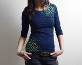 Japanese Star Moss - 3/4 Sleeve Boatneck in Navy S to L