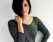 Star Moss Womens Shirt - Boat neck in Gray in size Large  :gift for her / fashion clothing, christmasinjuly sale
