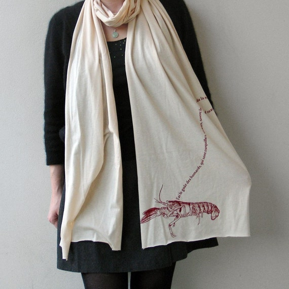 French Pet Lobster Scarf in Oatmeal : womens clothing / made in usa / stocking stuffer