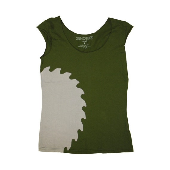 Cutting Edge Womens Tshirt - Olive Green in Medium / Made in USA clothing