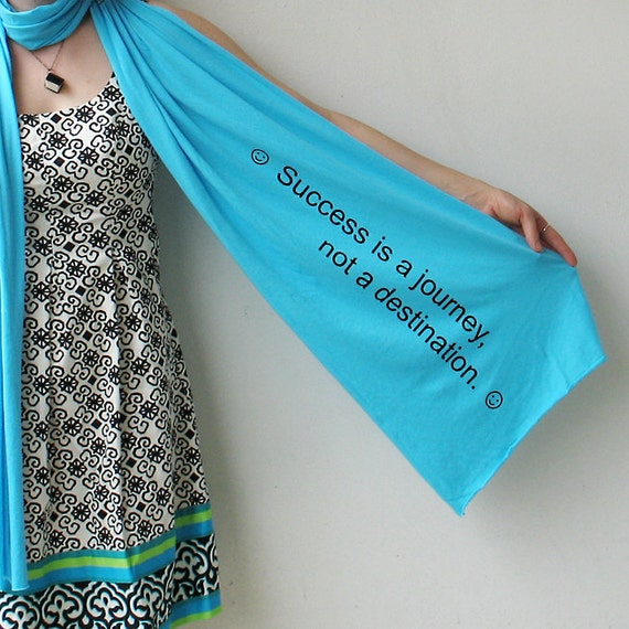 Giant Fortune Scarf... (Success is a Journey ) in Aqua, stocking stuffer