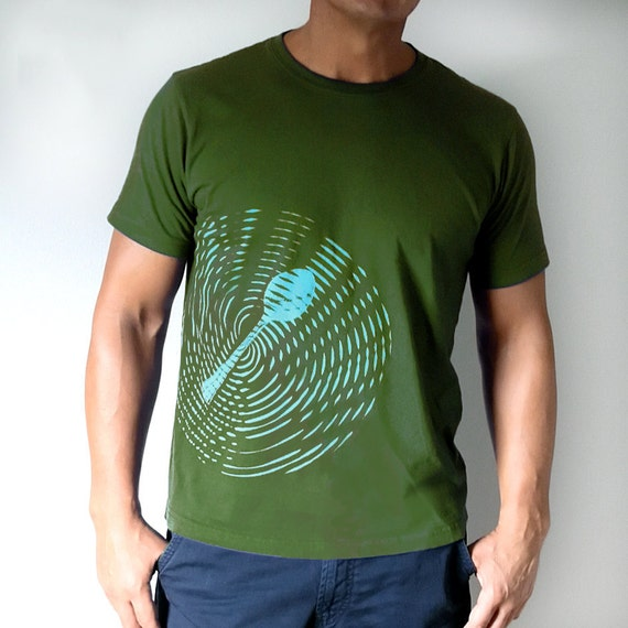 Mens Tshirt  for a Foodie in Olive Green / Large : gift for him / gourmet chef / american apparel