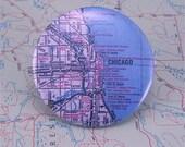 Vintage map pin - Chicago, Illinois - Wrigley Field, Grant Park, Lake Shore Drive, University of Illinois, Michigan Ave.