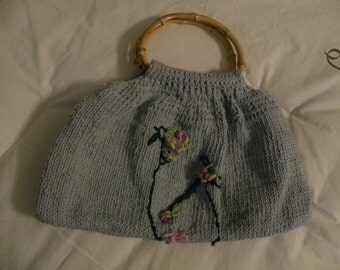 Floral Handmade Purse with bamboo handles Lined