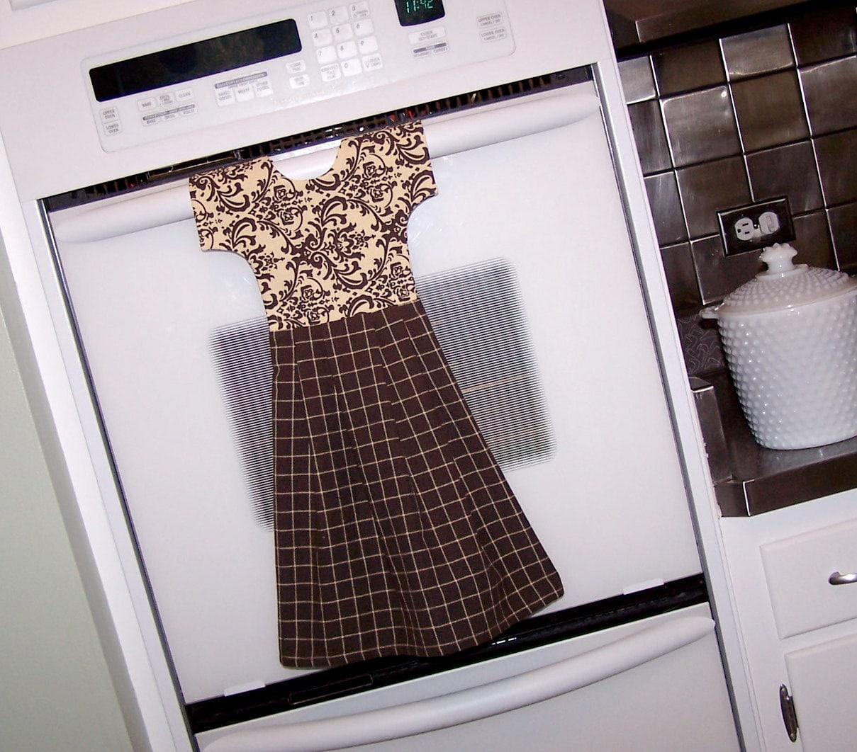 Kitchen Towel Hanging Kitchen Towel Hanging Oven Door Dress In Brown And Beige