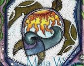 Twilight Turtle Swim  / Greeting Card