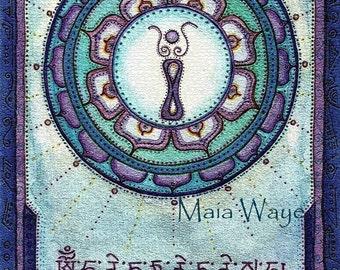 Green Tara at dusk /  Greeting Card