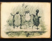 Wood Block- Turtle- Frog- Duck- Dancing In Rain -Childrens Vintage Style Print-Cute -45 - MyFathersHouse4