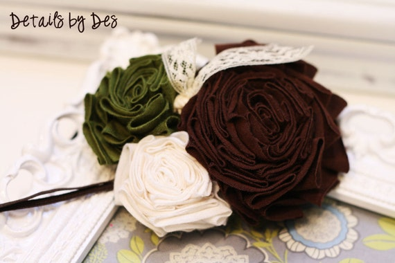 Olive Cream and Brown Nature Roses Jersey Knit Flower Headband Infant Girls Tweens