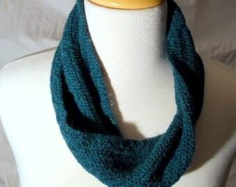 teal loop  scarf with a twist