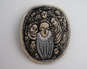 our lady queen in grey - embroidery brooch artwork