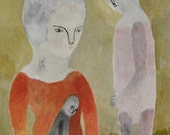 SUMMER SALE doll companions - original watercolour painting - folk art