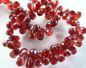 HIGH QUALITY- 1/2 Strand of Exquisite AAA Mozambique Garnet Faceted Teardrop Briolettes 6mm-7mm Semi Precious Gemstone Beads