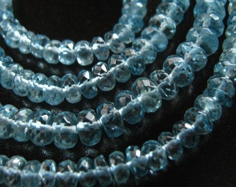 11 Inch Strand of Beautiful Aquamarine Faceted Rondelles semi precious gemstone beads  3mm - 5mm