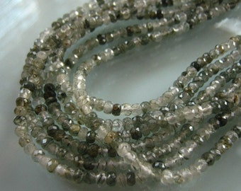 1/2 Strand 5 Inches of Rare Green Rutilated Quartz Faceted Rondelles 3mm Semi precious Gemstone Beads