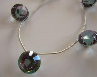 SALE: Pair of Superb AAA Rainbow Mystic Topaz Concave Round Focal Briolette  Pendant Semi precious Gemstone Bead 13mm