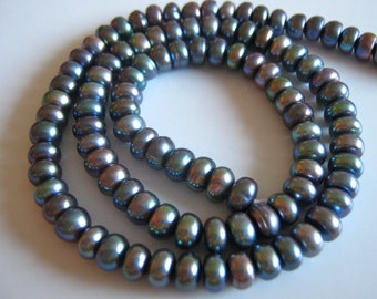 New - 8 Inch 1/2 Strand of Shimmery Peacock Freshwater Cultured Pearl Rondelles precious gemstone beads 6mm