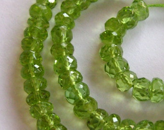 7 Inch Strand of Exceptional Quality Large size AAA Peridot Rondelles 5mm - 6mm Gemstone Bead Semi precious