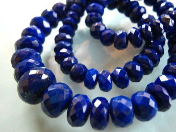 7 INCHES OF ROYAL BLUE LAPIS LAZULI Faceted Rondelles 6.5mm - 9.5mm Reduced from 30.29
