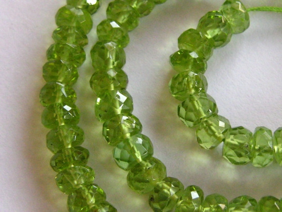 SALE-7 Inch 1/2 Strand of Green Peridot Faceted Rondelles semi precious gemstone beads  4mm Reduced from 24.20