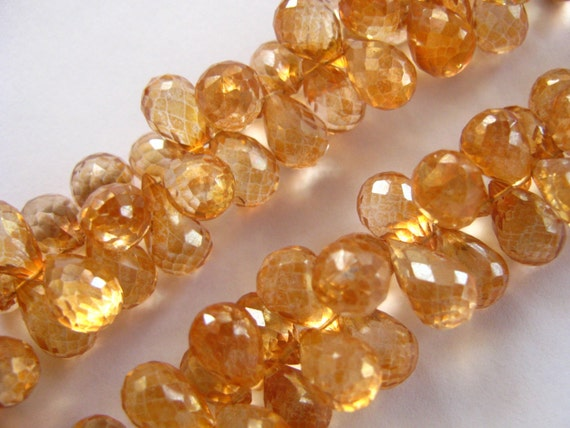 DESTASH SALE- 7 Pieces of Pretty Apricot Mystic Quartz Faceted Teardrop Briolettes semi precious gemstone beads 5x8mm - 6x12mm