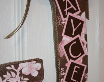 Custom Wall Letter - Brown and Pink - This design, any name, any letter