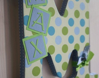 Custom Wall Letter - Green and Blue Polka Dot - This Design, ANY NAME, any LETTER