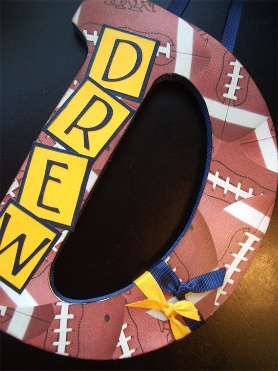 Custom Decorated Letter - Football Theme - THIS DESIGN, ANY NAME, ANY LETTER