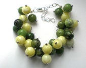 Green clusters - chrysopase and lemon jade bracelet