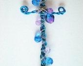 Blue Purple Cross  Wall Decor  Car Jewelry Handmade