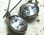 Crystal Clear Rivoli Gunmetal Long Earrings...Lighthouse