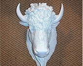 The Great White Buffalo.....Bison Head,Faux Taxidermy,Large,Mount,Horns,Highly Detailed,Deer