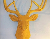 Sunny Bright Yellow Stag........Deer Head,Faux Taxidermy,Buck,Mount,Antlers