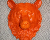 Not So Scary Orange Bear............Almost Life-size,Faux Taxidermy,Head,Mount