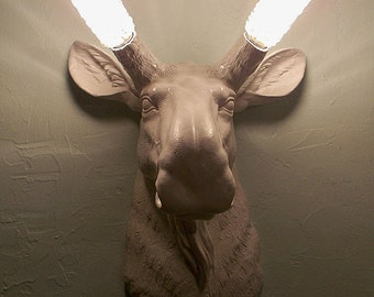 Moose Head Sconce,Lighting,Wall Mount,Antlers,Faux Taxidermy