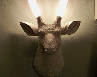 Have You Ever Wondered....Faux Deer Head Wall Sconce,Antlers,Buck,Stag,Light,Cabin,Faux Taxidermy