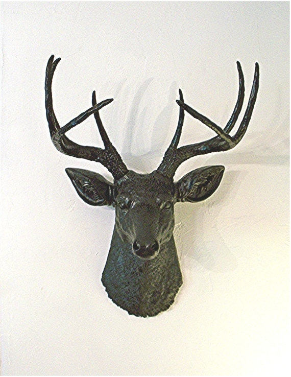 Ebony Stag........Faux Taxidermy,Mount,Deer Head,Antlers,Buck,Black