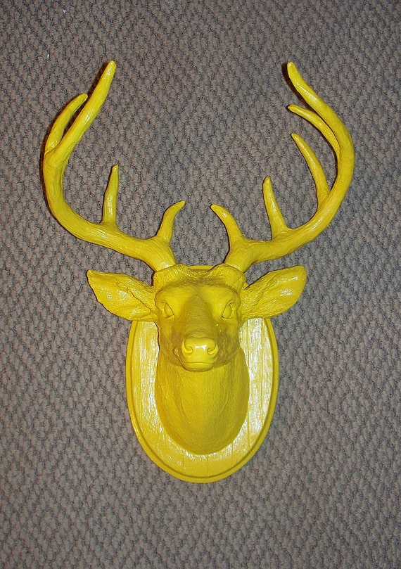 Sunny Yellow Stag,Deer Head,Small,Antlers,Faux Taxidermy,Buck
