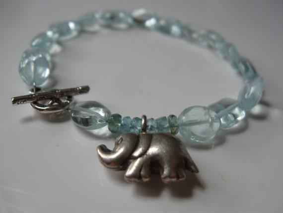 Aquamarine and elephant charm bracelet - 100 percent to support Elephant Journal