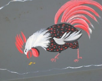 VIntageTole Tray Rooster Handpainted (2388-W)