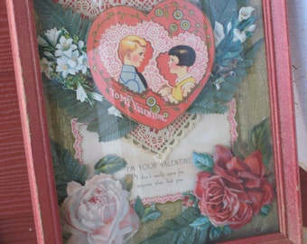 Vintage 1920s Valentine Ephemera Collage Shadowbox