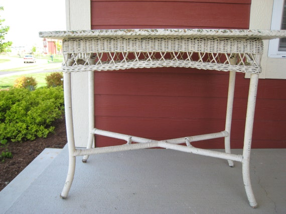 Antique Wicker Table Library Table 1910s (3207-W)