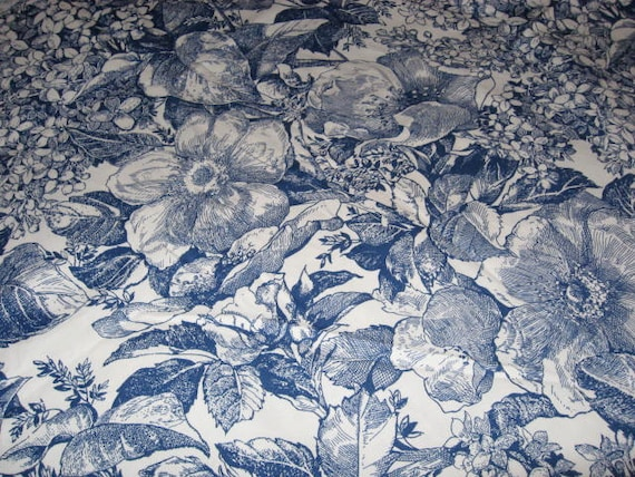 Toile Decorator Fabric Blue And White Floral By
