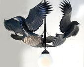 Raven Chandelier wood sculpture by Jason Tennant, Hand carved woodcarving and steel