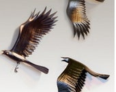 Three Flying Crows wall hanging sculpture